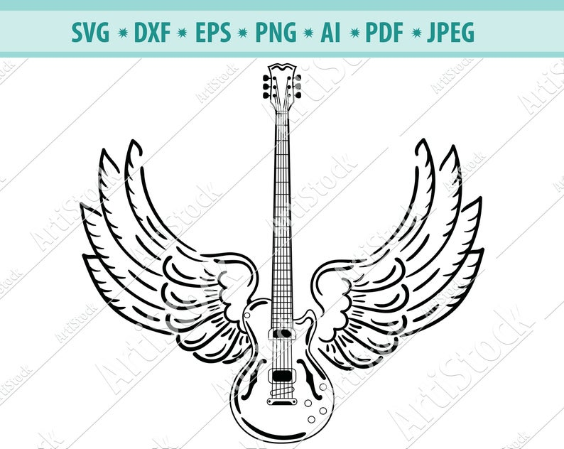Electric guitar, Wings, Guitar, Rock and roll, Silhouette svg, Musical  Instrument .SVG .EPS .PNG Vector Clipart, Circuit files, Cut Cutting.
