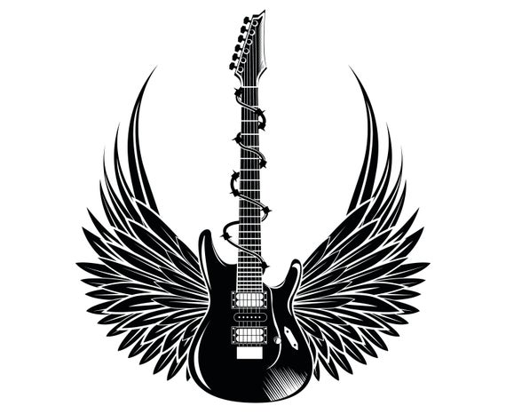 Electric guitar, Wings, Guitar, Rock and roll,  Silhouette,SVG,Graphics,Illustration,Vector,Logo,Digital,Clipart.