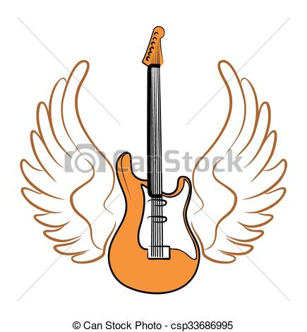 Electric guitar with wings..
