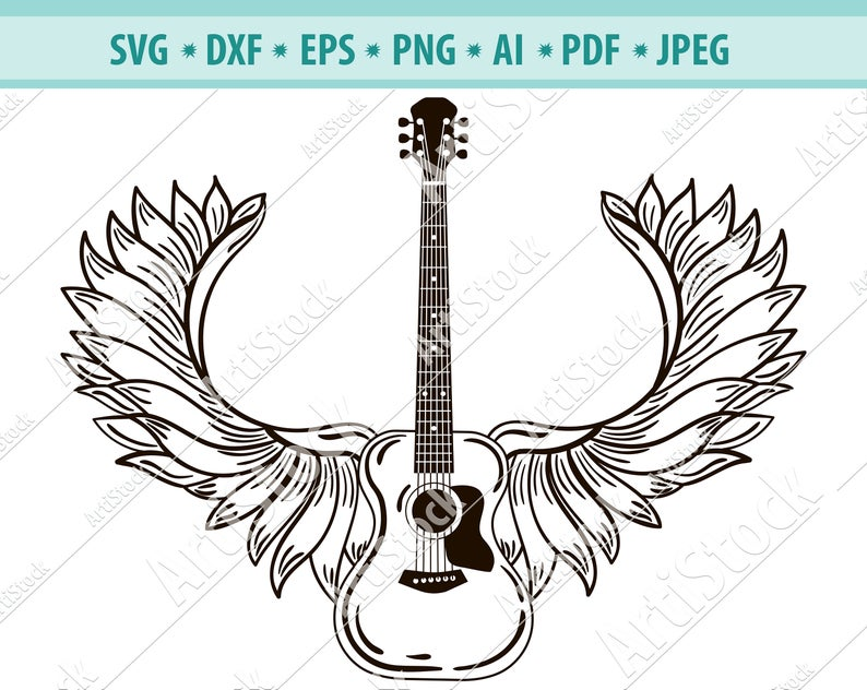 Acoustic guitar, Wings, Guitar, Rock and roll, Silhouette svg, Musical  Instrument .SVG .EPS .PNG Vector Clipart, Circuit files, Cut Cutting.