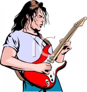 Musician Playing Guitar Clipart.