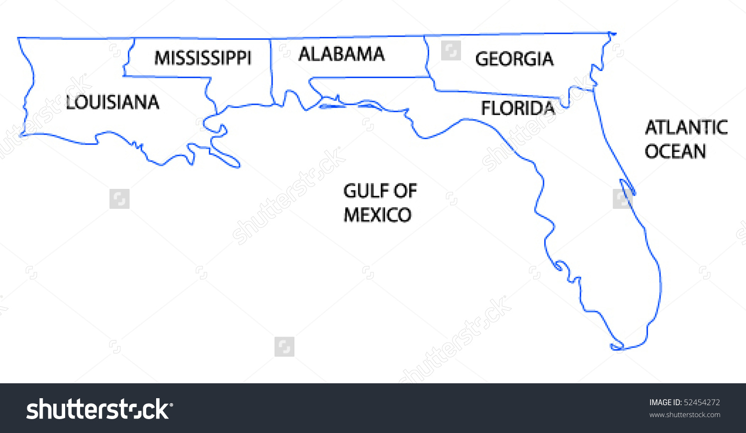 Vector Map Gulf Coast States Untied Stock Vector 52454272.
