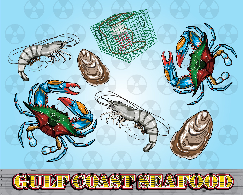 Louisiana Vector Clipart, Gulf Coast Clipart, Blue Crab Digital.