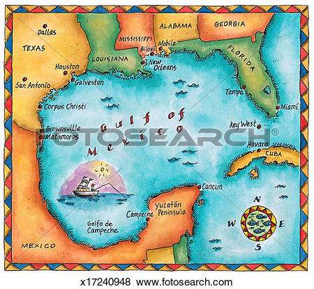 Stock Illustration of Map of the Gulf of Mexico x17240948.