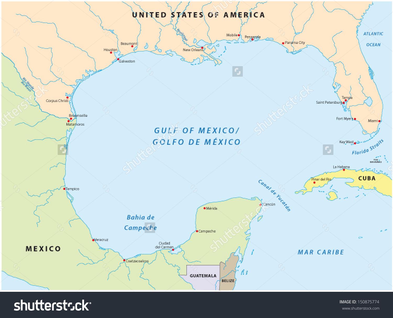 Gulf Mexico Map Stock Vector 150875774.
