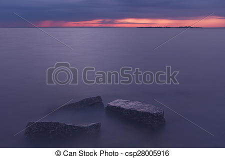 Stock Photography of Sunset on the Gulf of Finland, Russ.