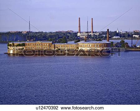 Stock Photo of The Sea Fort at Kronstadt, on the Gulf of Finland.