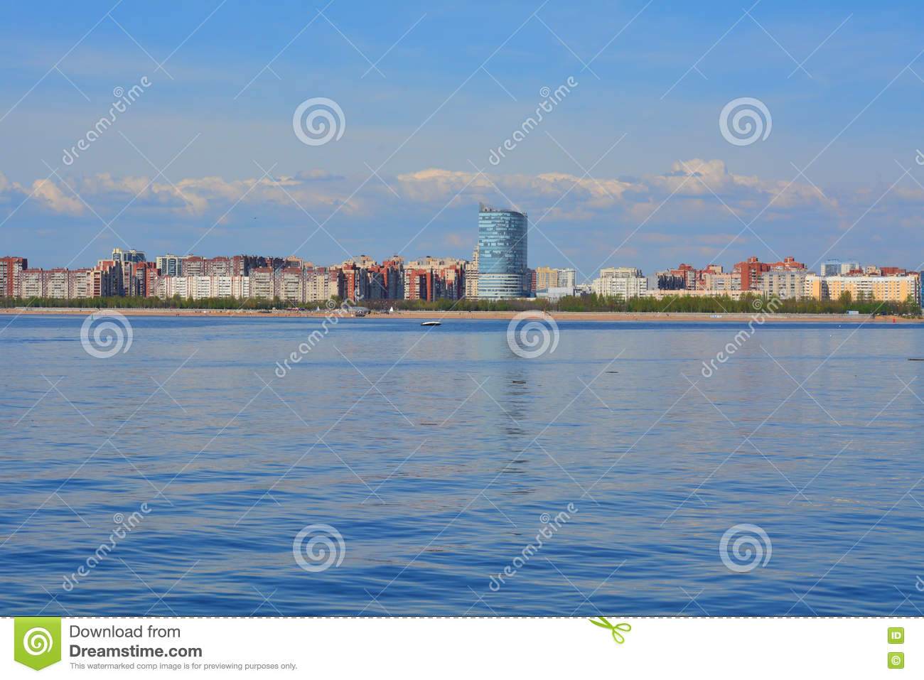Coast Of The Gulf Of Finland In St. Petersburg, Russia Stock Photo.