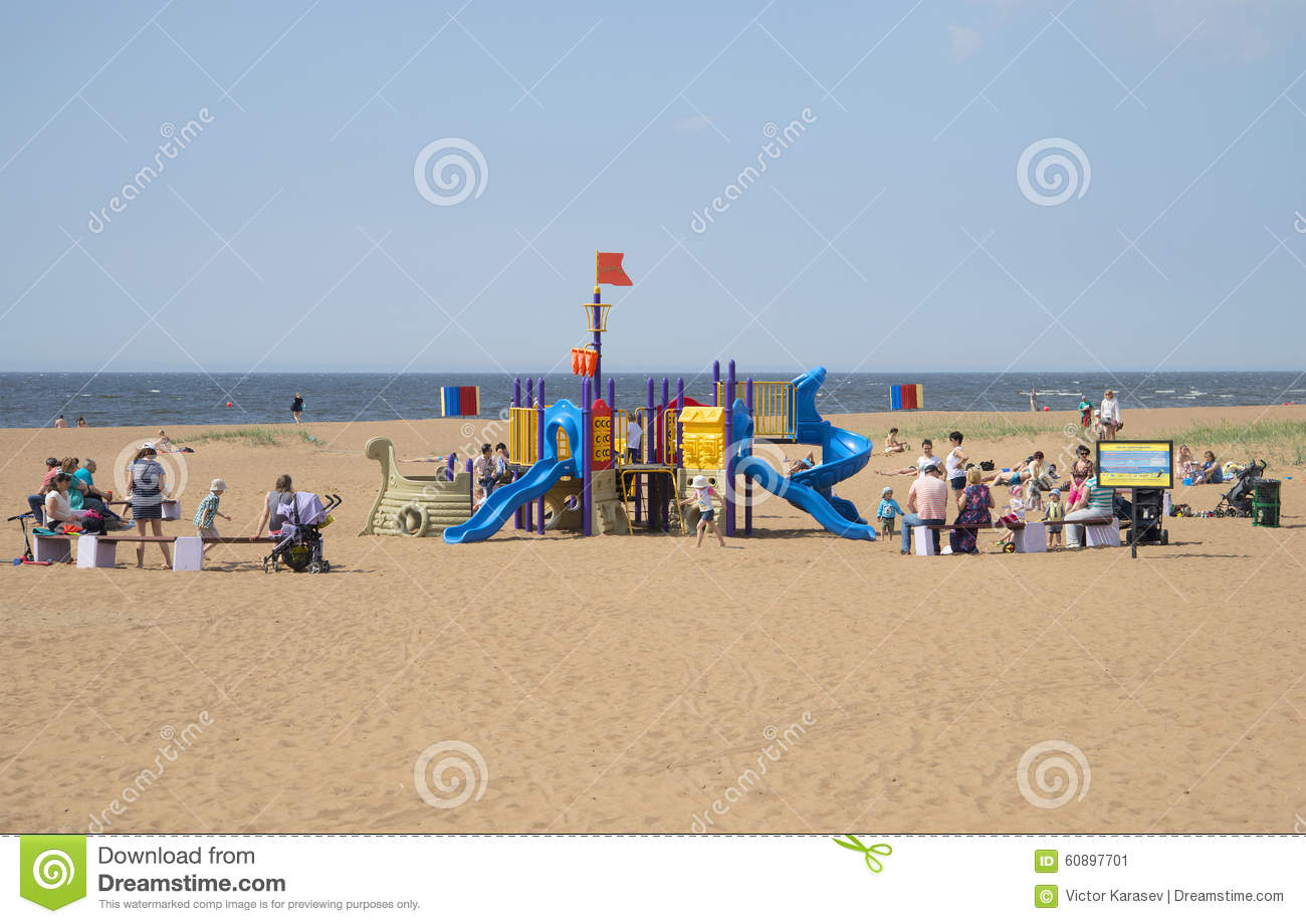 A Children's Playground On The Beach Of The Gulf Of Finland.