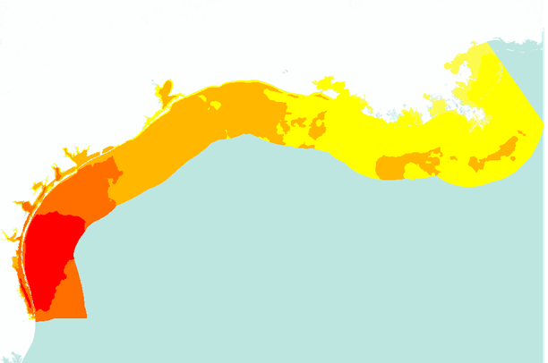 Annual average offshore wind speed (m/s) in the western Gulf of.