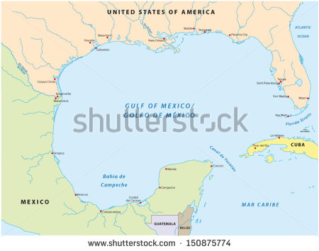 Gulf Of Mexico Map Stock Images, Royalty.