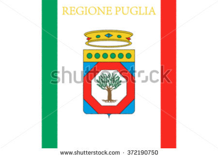 Glossy Glass Flag Of Apulia Is A Region Of Italy In Southern Italy.
