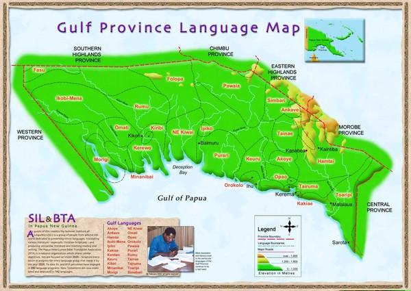 Gulf Province language Map.