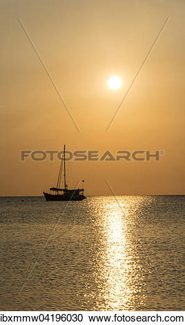 Stock Photography of Sailboat in the sea at sunset, Koh Tao island.