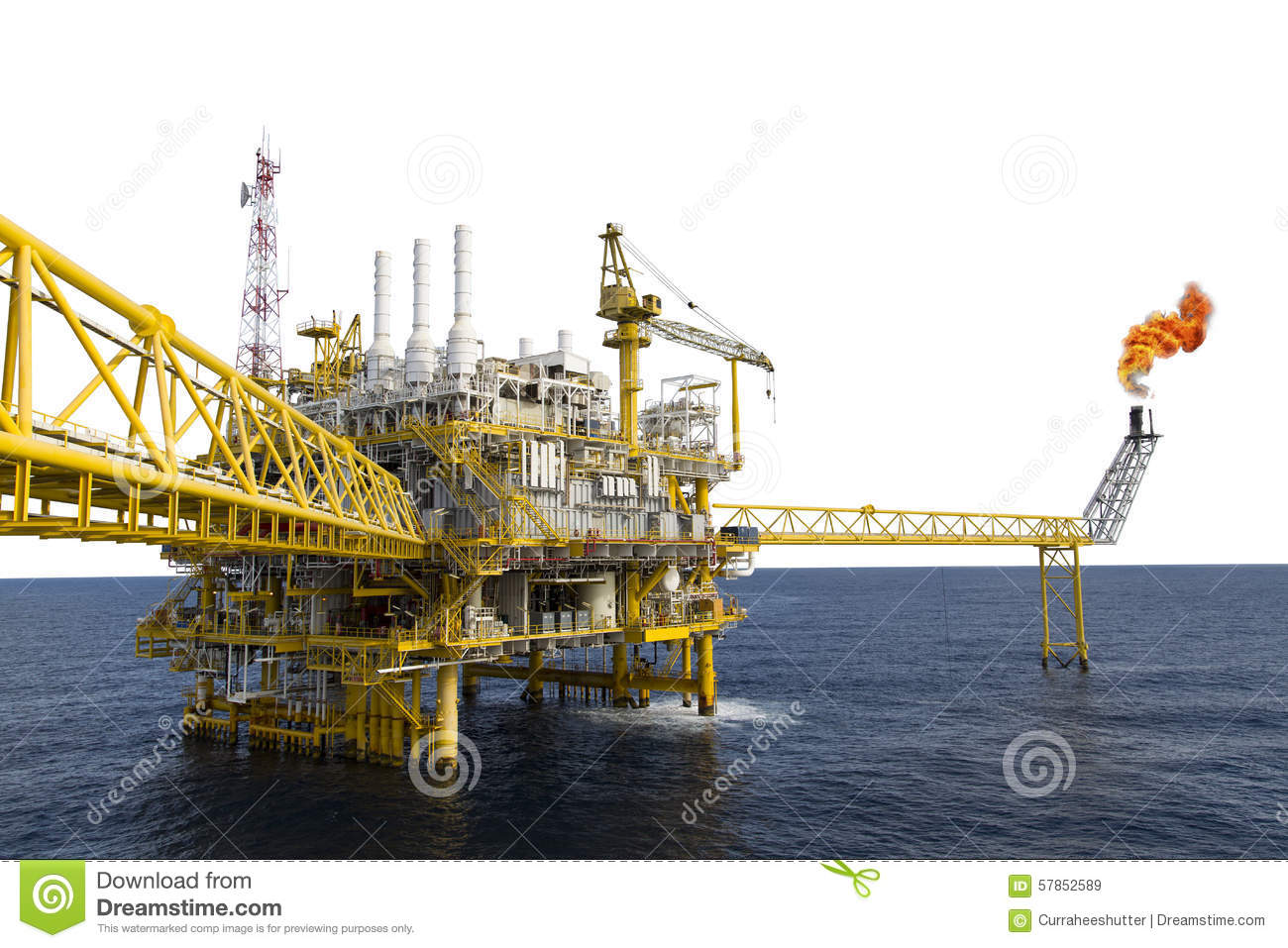 Oil And Gas Platform Or Construction Platform In The Gulf Or The.