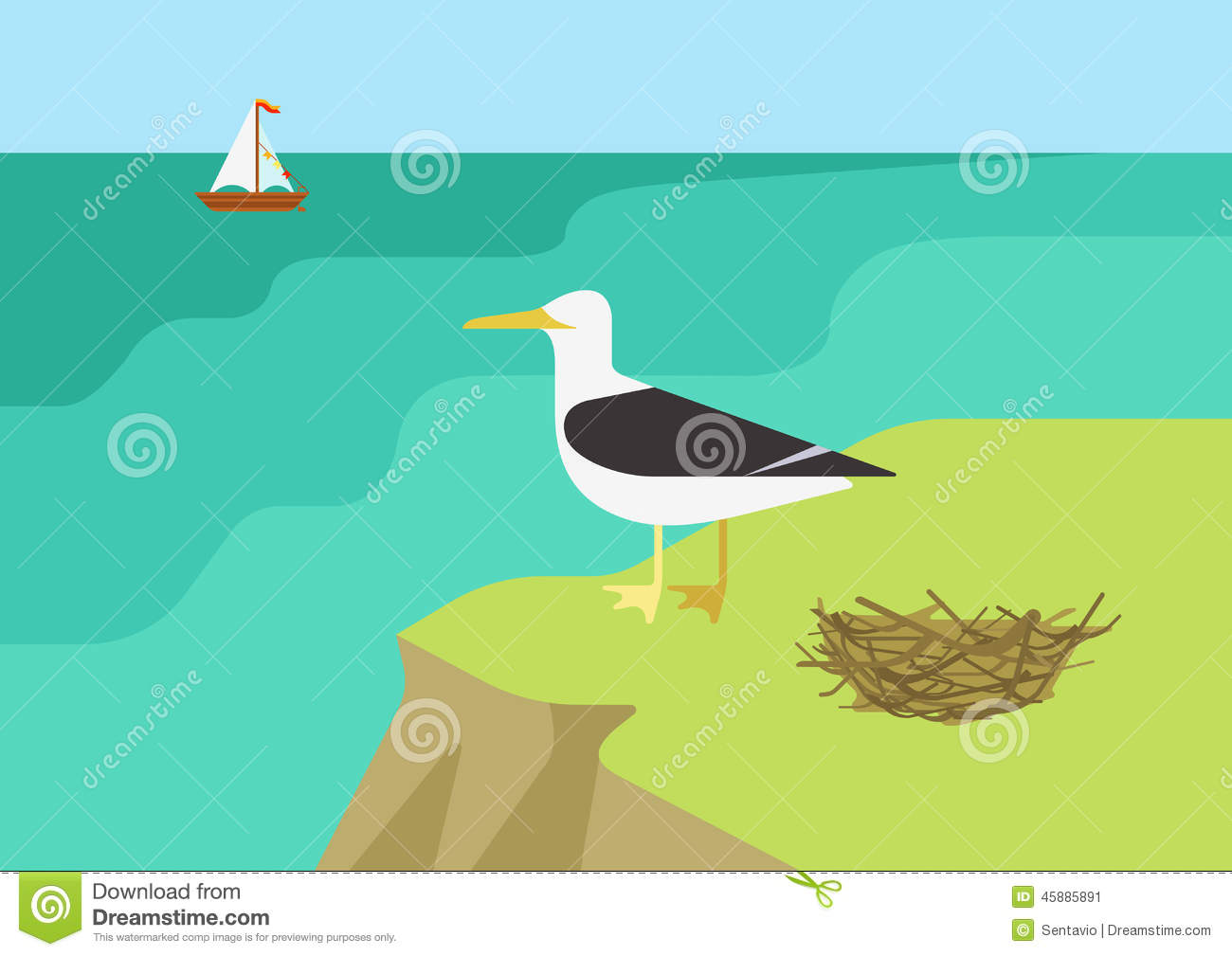 Seagull Gull Nest Beach Flat Cartoon Vector Wild Animals Birds.