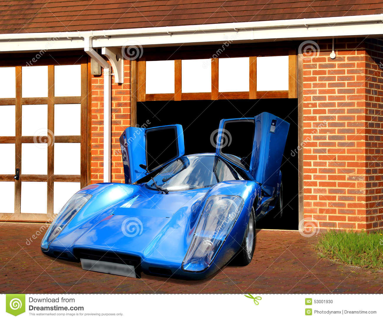 Lamborghini Super Car In Garage Stock Illustration.
