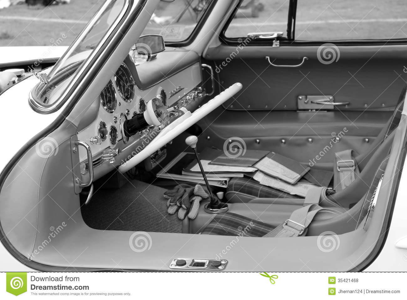 Classic Mercedes Super Sports Car Cabin B&w Editorial Stock Photo.