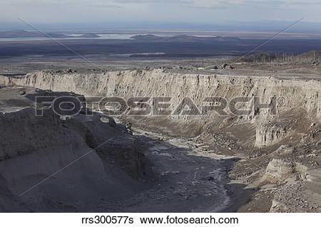 Stock Images of Deep erosion gulley in eroded pyroclastic flow.