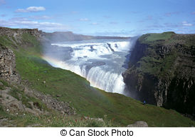 Stock Photo of Gullfoss Waterfall on a sunny day in Iceland.