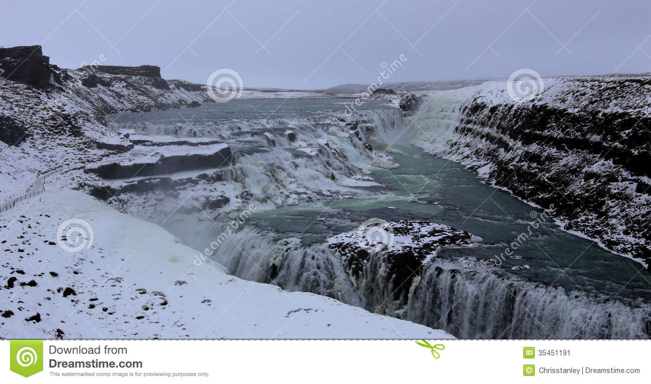 Gullfoss Waterfall Stock Image.