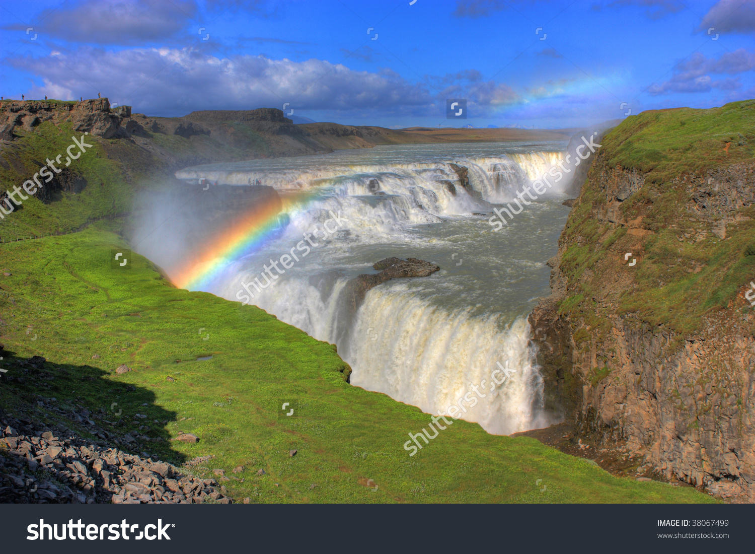 Scenic Waterfall Gullfoss Iceland Rainbow Stock Photo 38067499.
