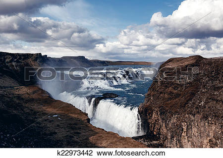 Stock Photo of Gullfoss The Great Watefall, Iceland k22973442.