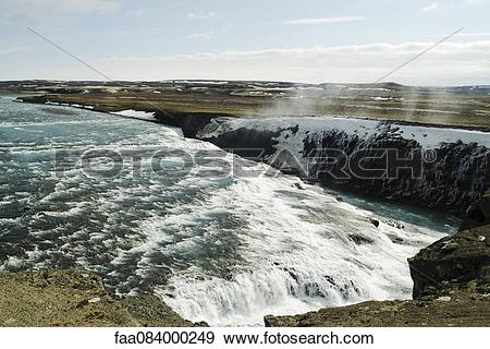 Stock Photograph of Icelandic waterfalls in the Golden Circle.