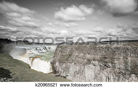 Stock Photography of Waterfall Gullfoss in grayscale, Iceland.