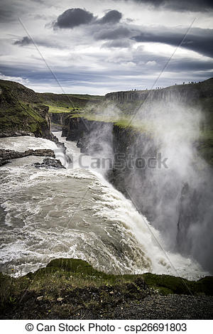 Stock Photography of Iceland Gullfoss waterfall.