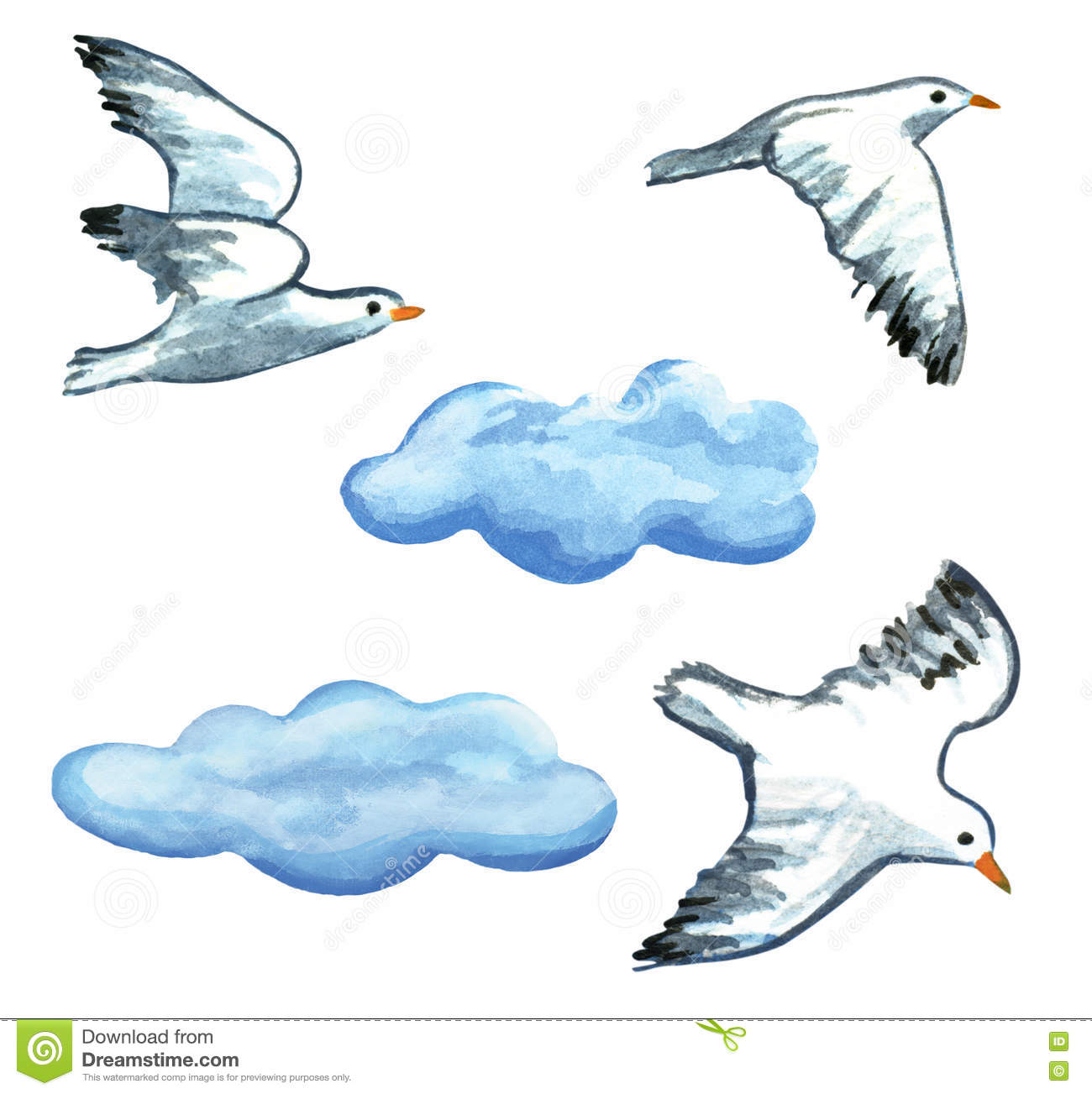 Seagulls And Clouds Watercolor Hand Painted Clip Art Illustration.