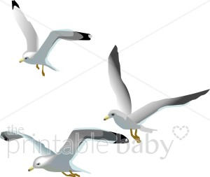 Flying Seagulls Clipart.