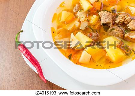 Stock Photo of Hungarian goulash (gulyas) soup k24015193.