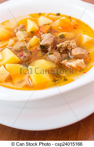 Stock Image of Hungarian goulash (gulyas) soup.