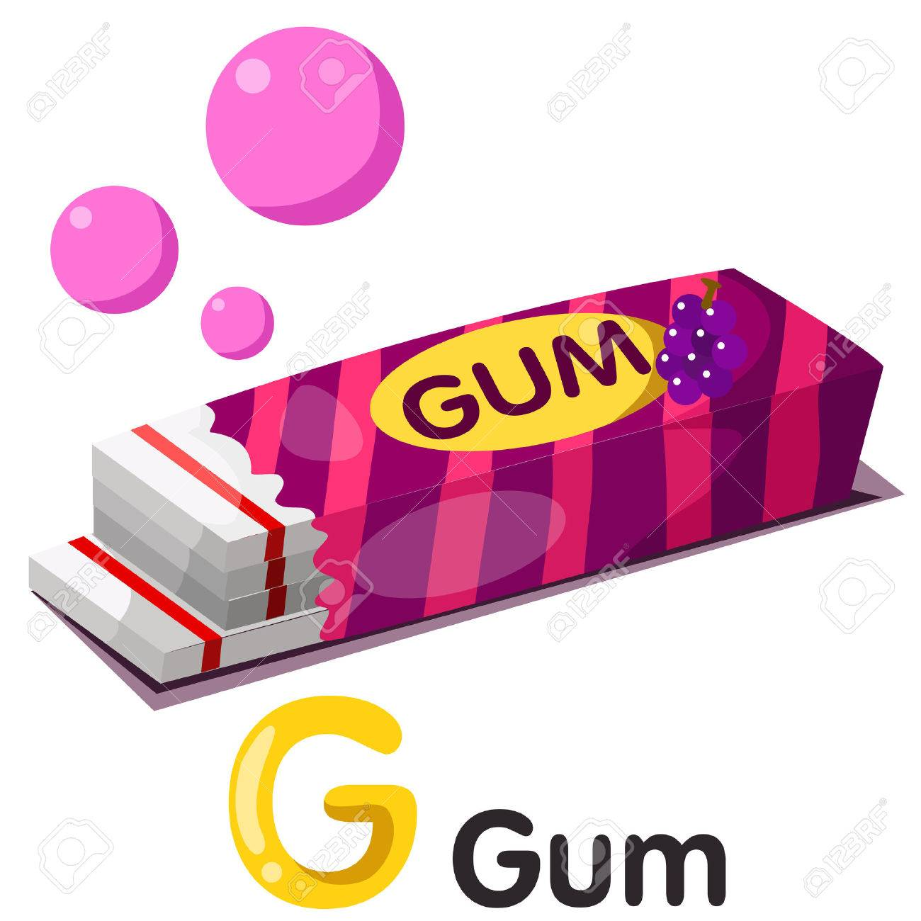 Illustration of g font with gum.