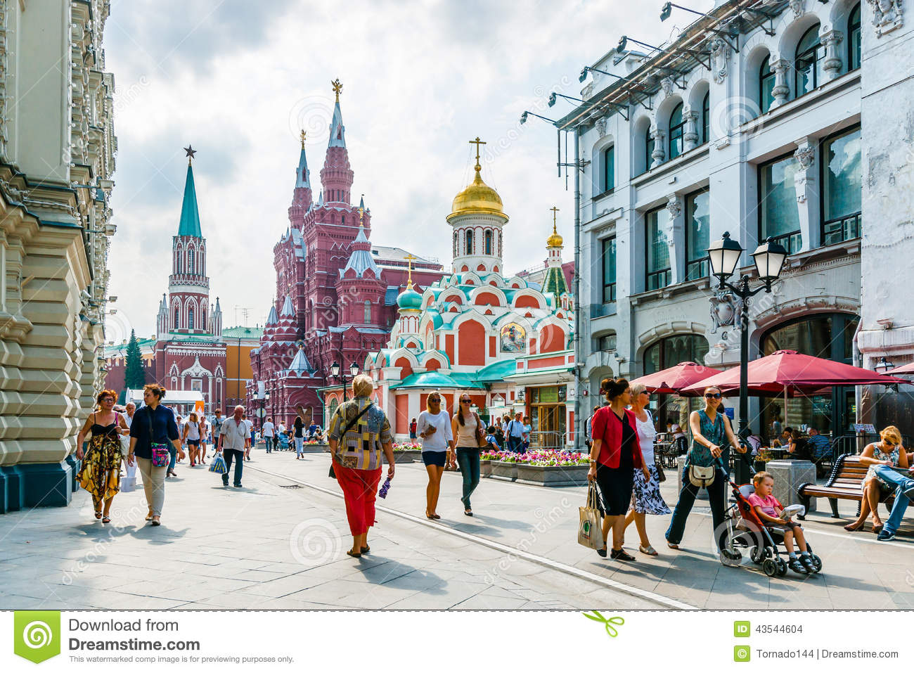 Nikolskaya Street Of Moscow Editorial Stock Image.
