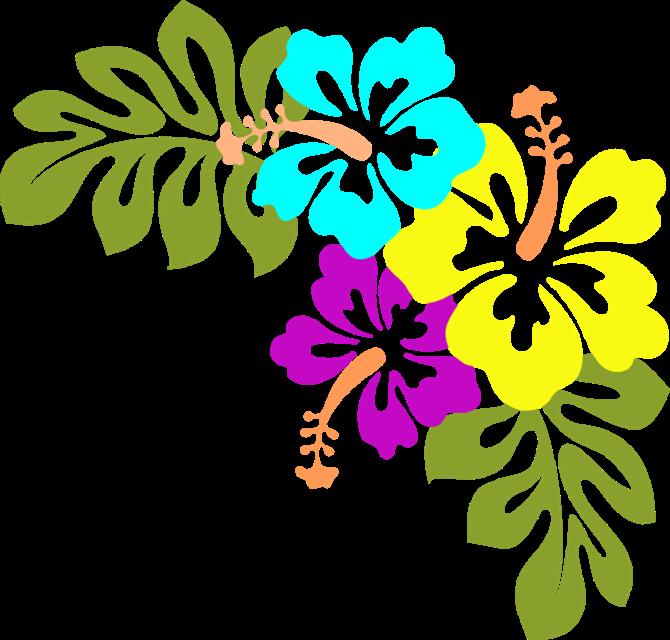 Luau Blue Flower Clipart.