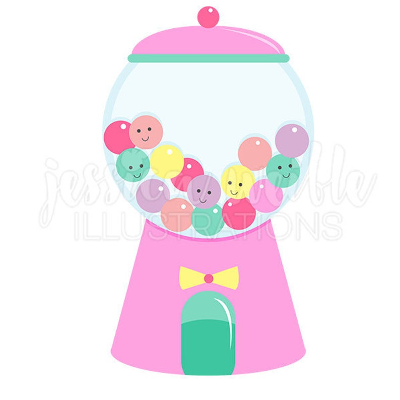 Girly Gumball Machine Cute Digital Clipart, Gumball Clip art, Candy  Graphic, Illustration, #1609.