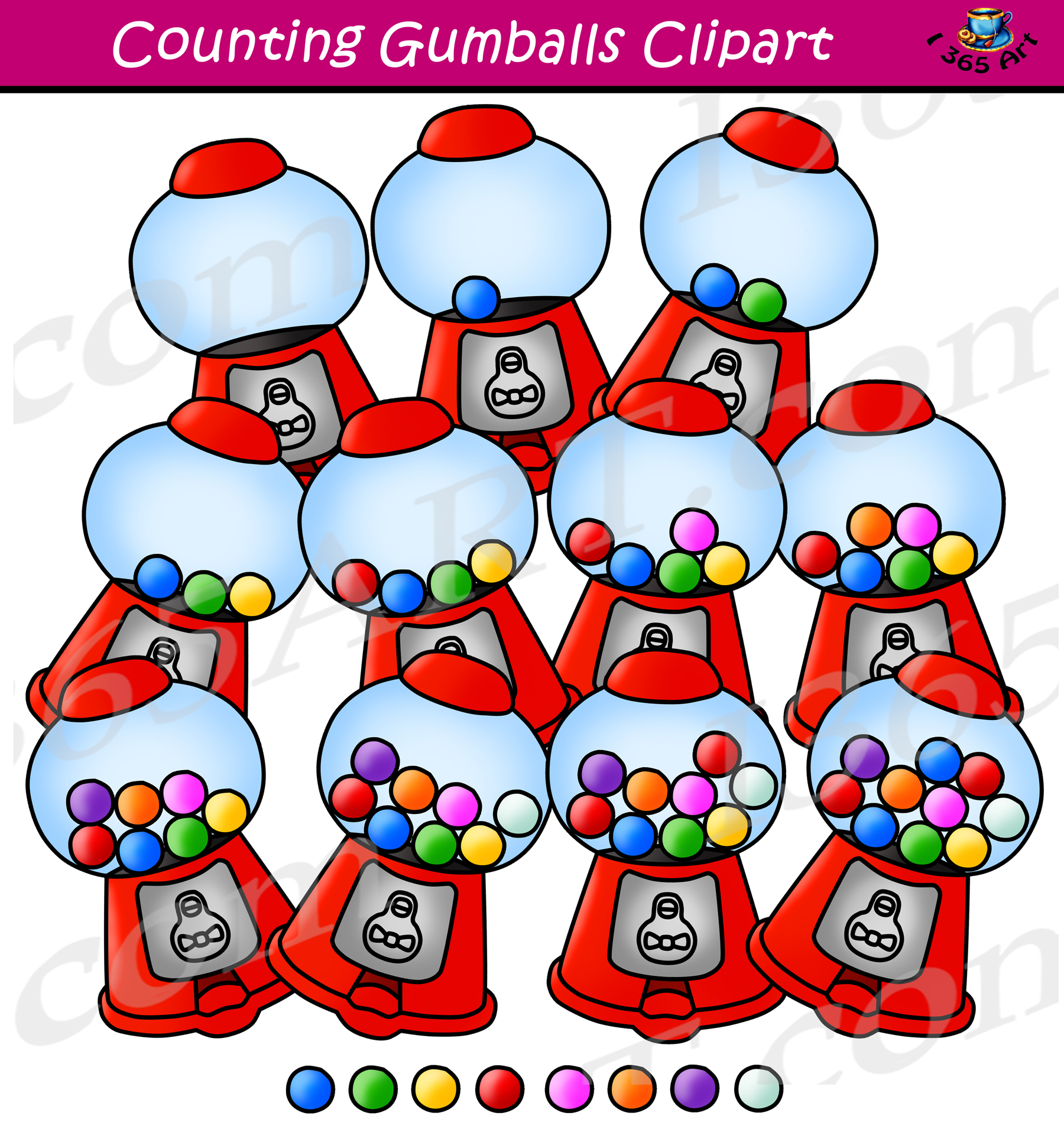 Counting Gumballs Clipart.