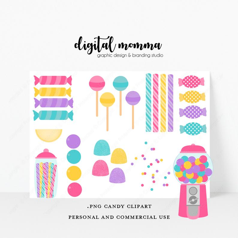 Candy, Gumball Machine Clipart Set, Personal & Small Commercial Use,  Instant Download!.