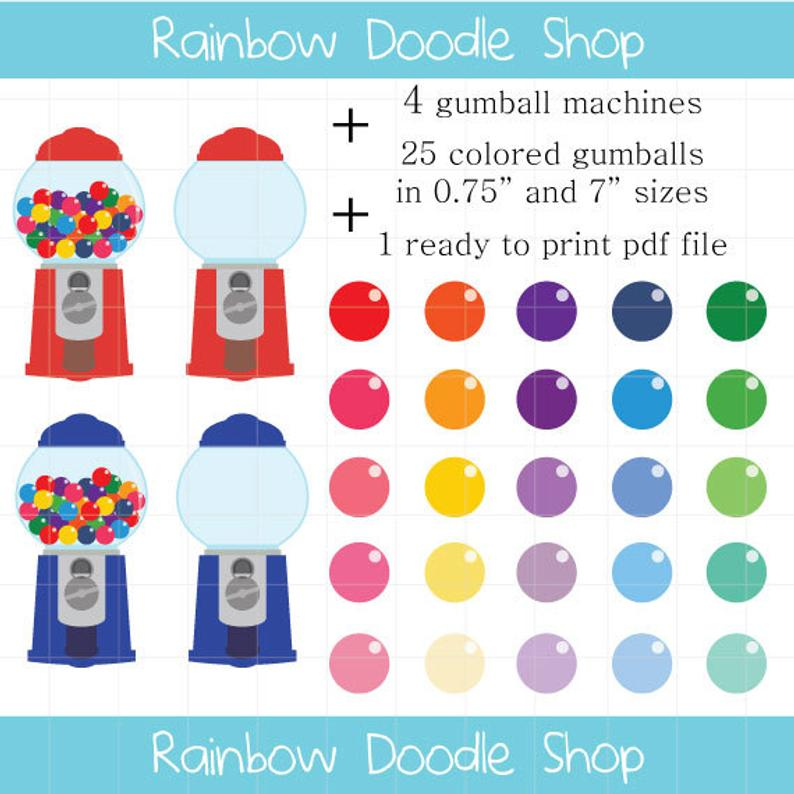Gumball Machine Clipart, Colorful Candy Clipart, Gumball Clip Art, Colorful  Gumballs, Empty Gumball Machines, Filled Gumball Machines.