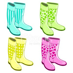 Isolated rubber gumboots Clipart Image.