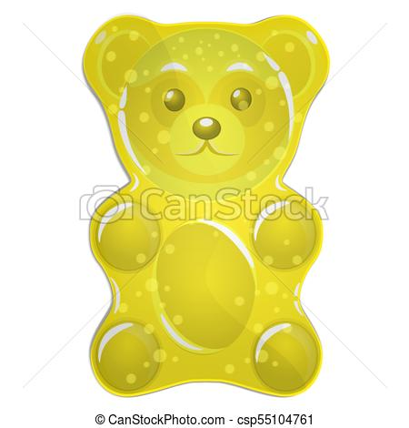 Yellow gummy bear vector illustration.