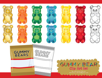 Gummy Bear Clip Art / Food Clip Art Set.