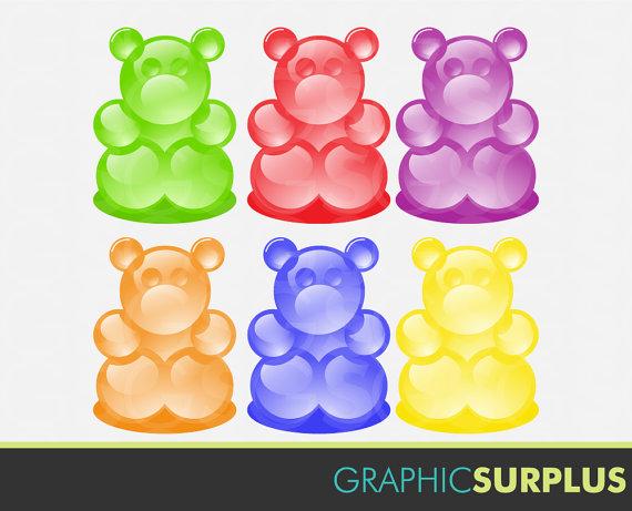 Items similar to Clip Art Gummi Bears Candy Gummy Bear Clipart.