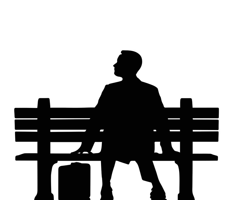"Forrest Gump Silhouette sitting on Bench"" Travel Mugs by Upbeat."