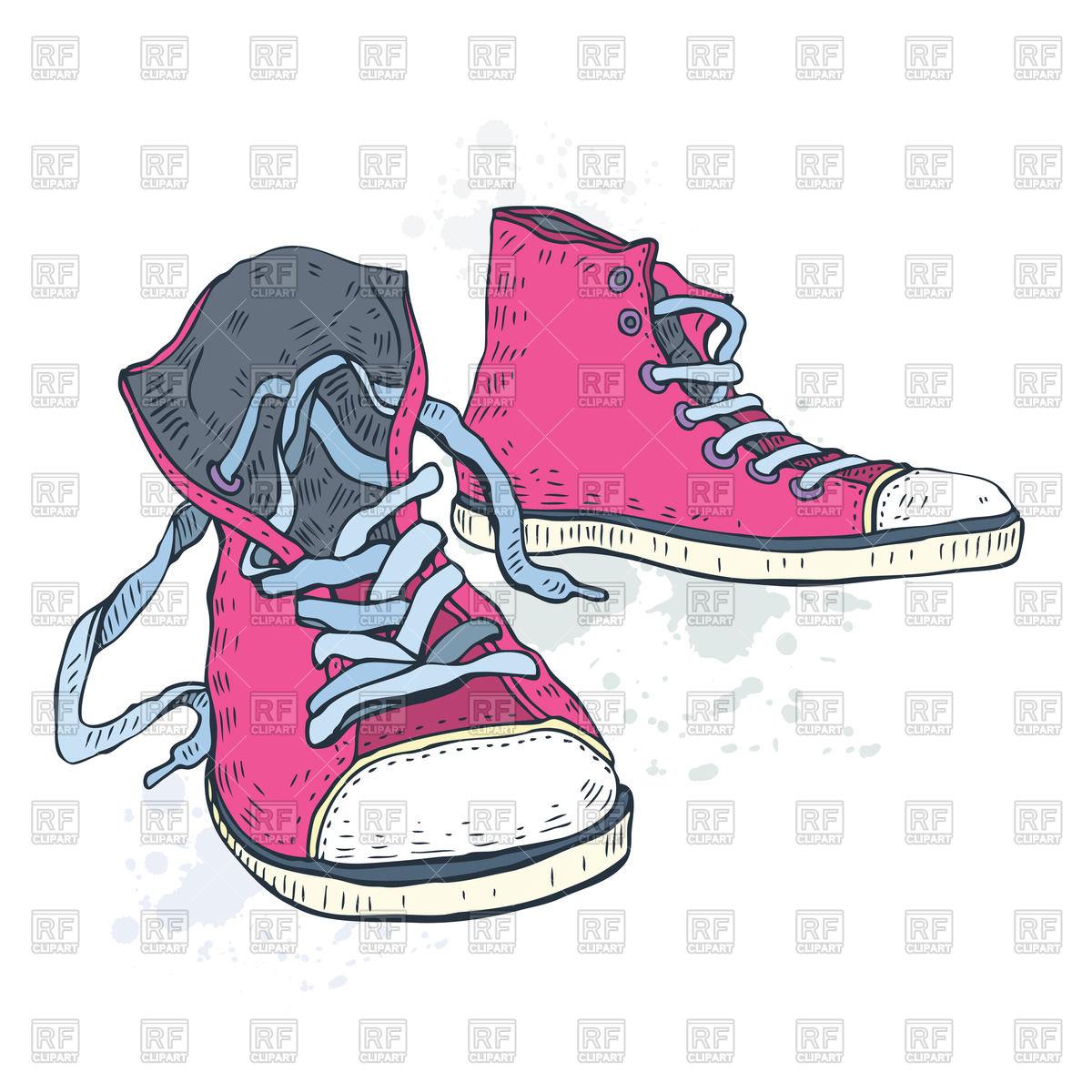 Pink gumshoes (sneakers) Vector Image #45679.