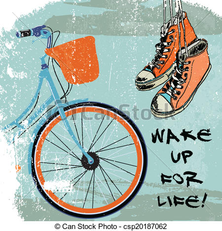 Clip Art Vector of Gumshoes sketch bike hipster.