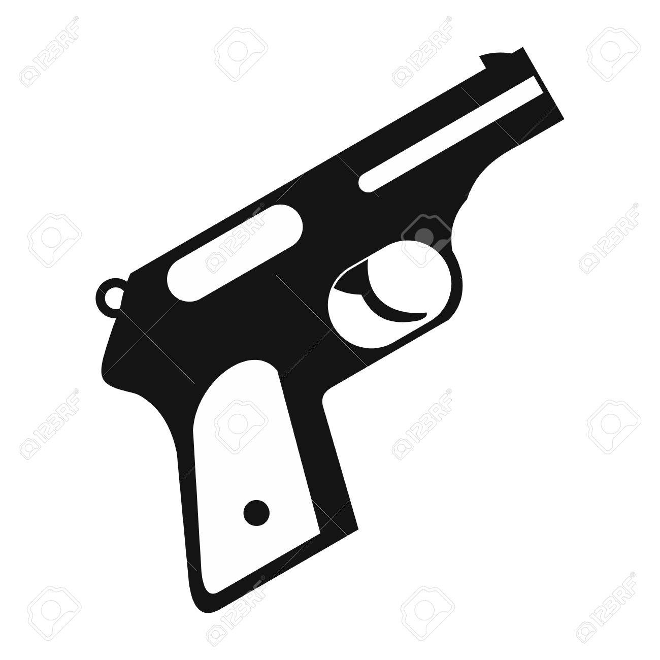 Gun black simple icon on a white background.