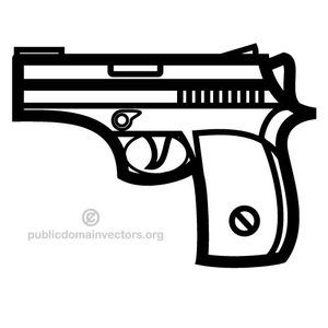 Black and white illustration of a gun. Image of a small weapon.